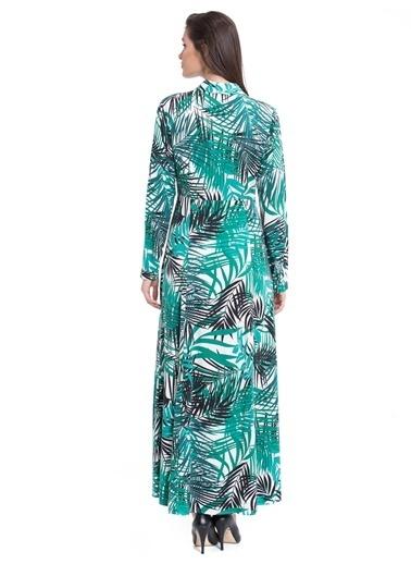 LC Waikiki Tropikal Desenli Uzun Elbise Ekru
